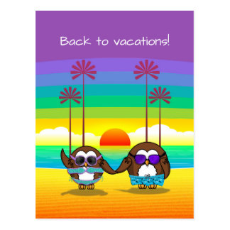 owls are back to vacations! postcard