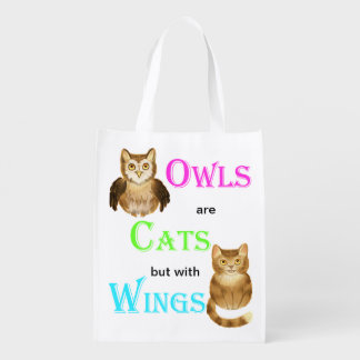 Owls are cats with wings reusable grocery bag