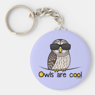 Owls are cool! basic round button keychain