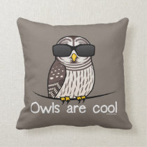 Owls are cool throw pillow