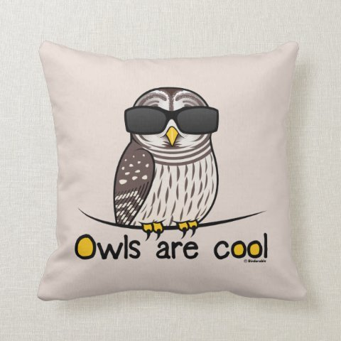 Owls Are Cool Cotton Throw Pillow In Birdorable Shop