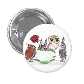 Owls at Teatime 1 Inch Round Button