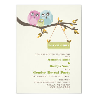 Owls Autumn Gender Reveal Party Invitation