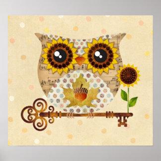 Owl's Autumn Song Poster Art Print