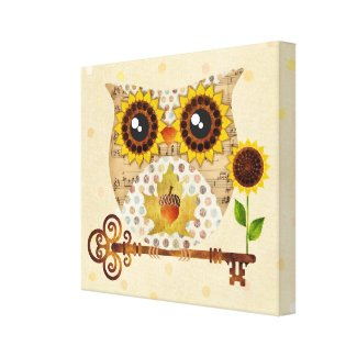 Owl's Autumn Song Wrapped Canvas Print