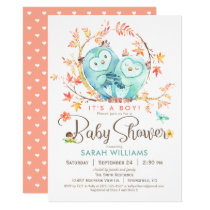 Owls Baby Shower, Autumn Leaves Card