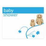 Owls baby shower postcard