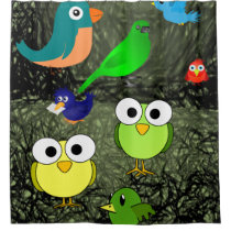 owls birds blue green children's showercurtain shower curtain