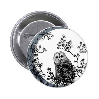 Owls Birds Nature Wildlife Moon Button