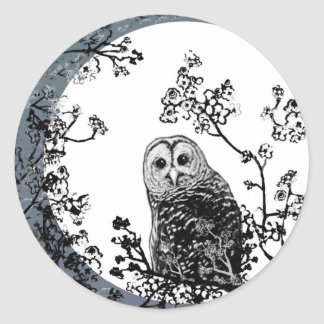 Owls Birds Nature Wildlife Moon Stickers