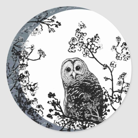 Owls Birds Nature Wildlife Moon Stickers