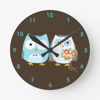 Owls Bride and Groom - Cute Wedding Couple Round Clocks