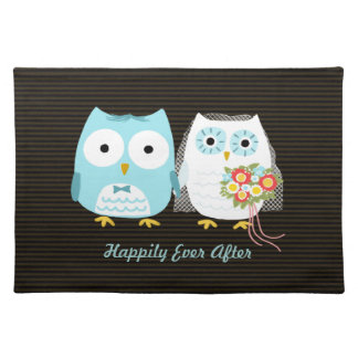 Owls Bride and Groom - Cute Wedding Couple w/ Text Cloth Placemat