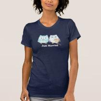 Owls Bride and Groom Design with Custom Text T-Shirt