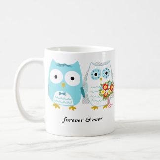 Owls Bride and Groom Forever & Ever - Custom Text Coffee Mug
