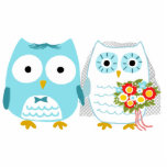 Owls Bride and Groom - Fun Wedding Cake Topper Standing Photo Sculpture