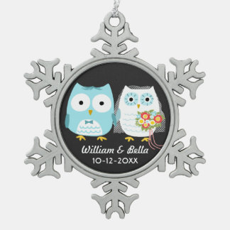 Owls Bride and Groom Just Married Couple Ornaments