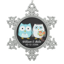 Owls Bride and Groom Just Married Couple Snowflake Pewter Christmas Ornament