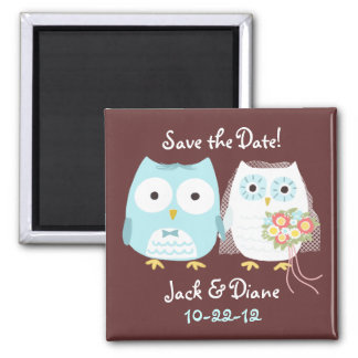 Owls Bride and Groom Save the Wedding Date Refrigerator Magnet