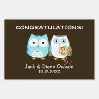 Owls Bride and Groom Wedding Congratulations Lawn Sign