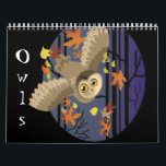 "Owls, Calendar<br><div class=""desc"">Owls calendar,  great gift for night owls and nature nuts! Make your year a real hoot! Art copyright to Erin Cooper</div>"
