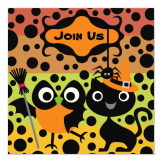 Owls, Cats, and Spiders Halloween Party Invite