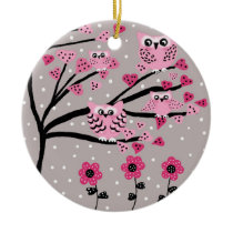 owls ceramic ornament