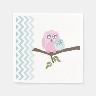 Owls + Chevron Boy Baby Shower Napkins