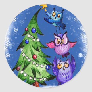 Owls Christmas blue Classic Round Sticker