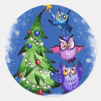 Owls Christmas blue Classic Round Sticker