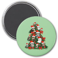 Owls Christmas Tree Round Magnet