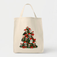 Owls Christmas Tree Grocery Tote