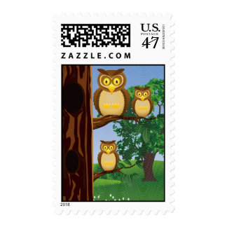 Owls Company Postage Stamp
