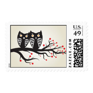 Owls couple in love postage