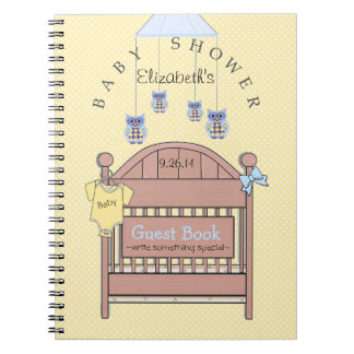 Owls, Crib Yellow and Blue Baby Shower Guest Book- Notebook