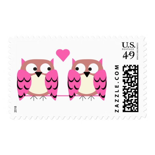 Owls-Cute couple Postage