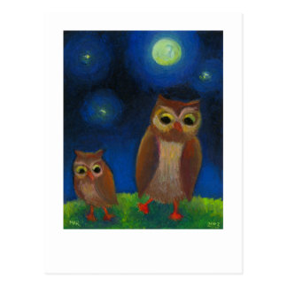 Owls dancing night fun unique full moon owl art post cards