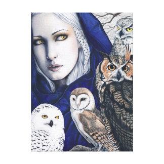 Owls Elf Fairy Fantasy Art Canvas Print