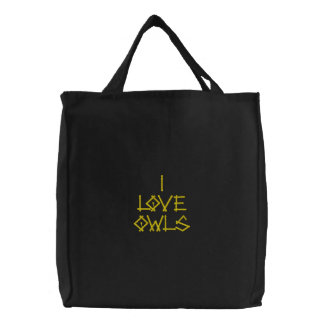OWLS EMBROIDERED TOTE BAG