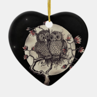 Owls enamoró En Love lechuzas - Adorno Navideño De Cerámica En Forma De Corazón