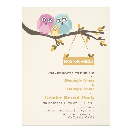 Owls Fall Gender Reveal Party Invitation