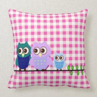 Owls Family American Mojo Pillow mojo_throwpillow