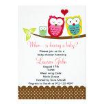 Owls family baby shower invitation