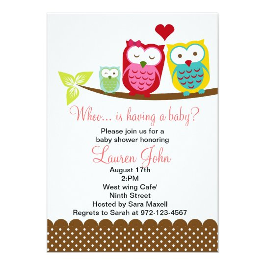 Family Baby Shower Invitations: Owls Family Baby Shower Invitation