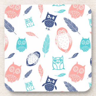 Owls Feathers Blue Teal Coral Coaster Set