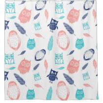 Owls Feathers Pattern Blue Coral Shower Curtain