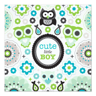 Owls flowers baby boy announcement baby shower
