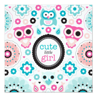 Owls flowers baby girl announcement baby shower