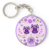Owls, Flowers & Butterflies Custom Monogram Keychain