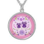 Owls, Flowers & Butterflies Custom Monogram Sterling Silver Necklace